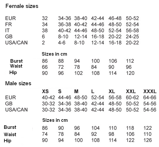Clothes Size Chart