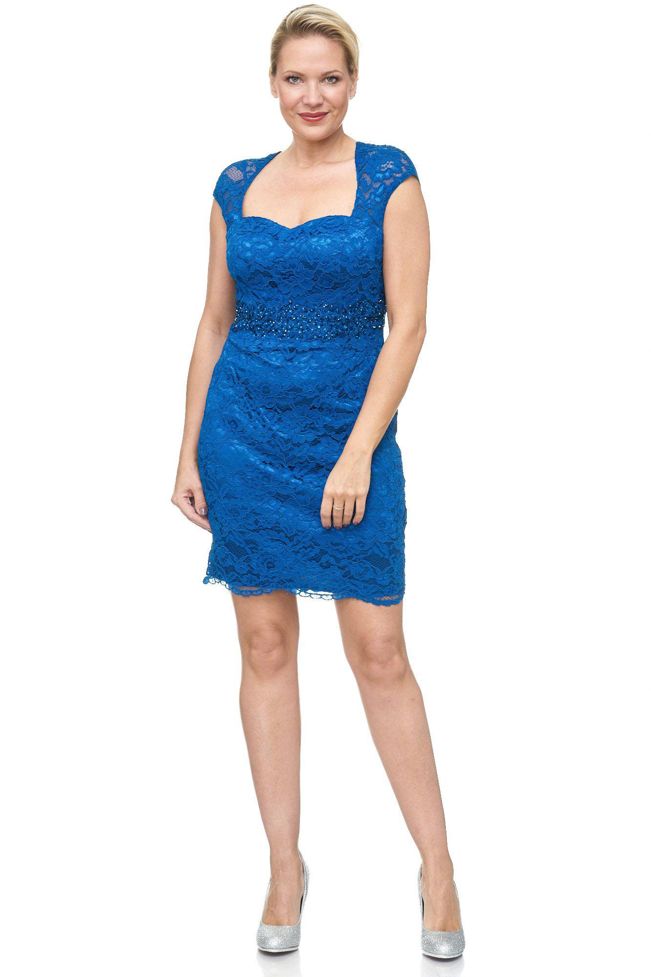 Blauwe Cocktailjurk.Floral Lace Cocktail Dress Plus Size Mini Dress