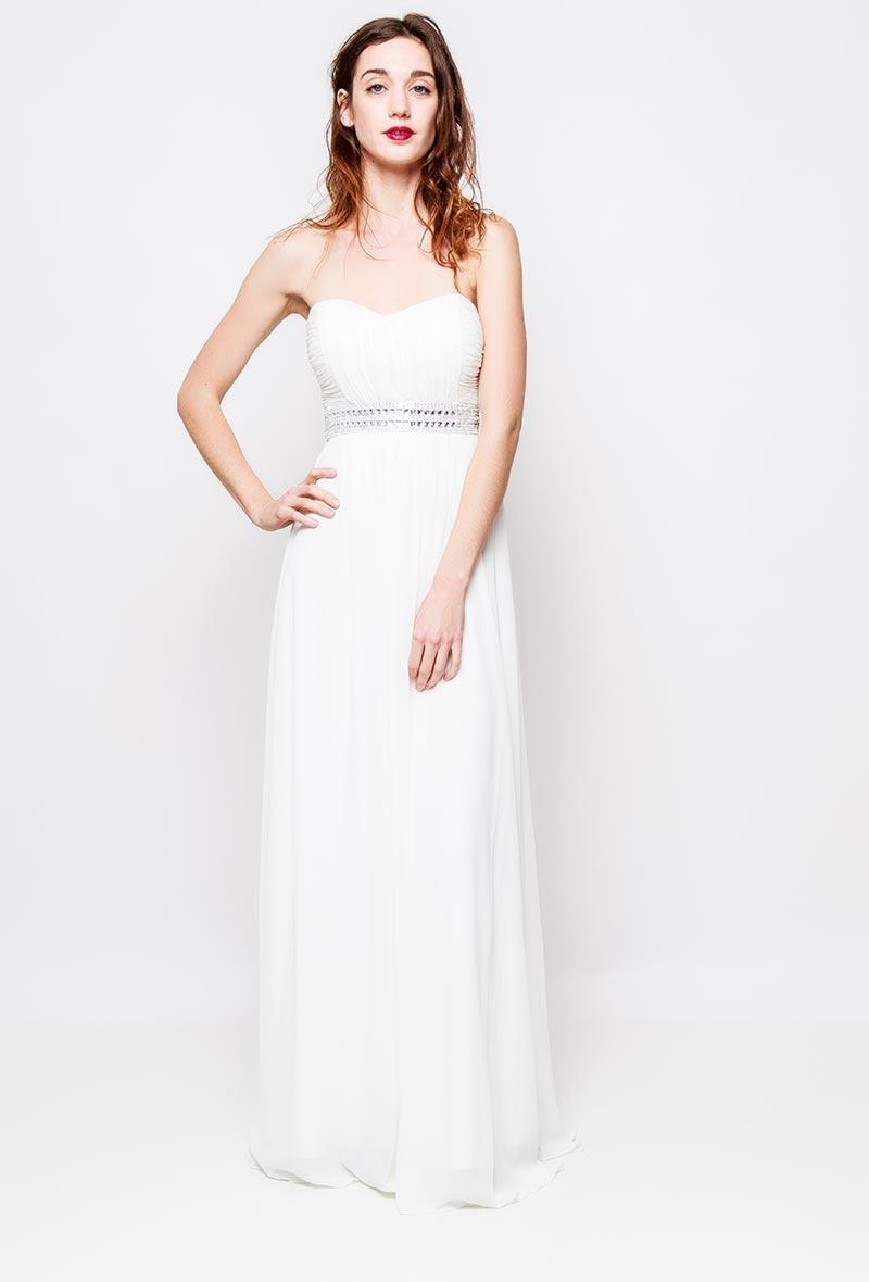 602e5e4f5c5773 Strapless witte galajurk. Beschrijving