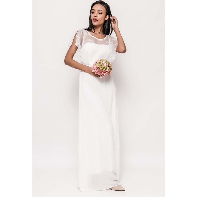 18890bd11e5ab2 Witte galajurk met schouderband. White prom dress. Beschrijving
