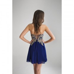 Strapless embroiled prom dress