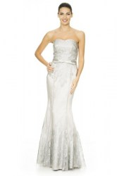 Strapless satin lace gown