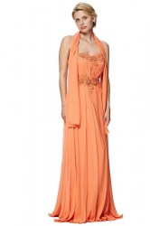 Strapless chiffon maxi gown